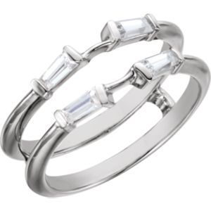 122247 / Complete With Stone / 14kt White / NONE / Polished / 1/2 CTW Diamond Ring Guard