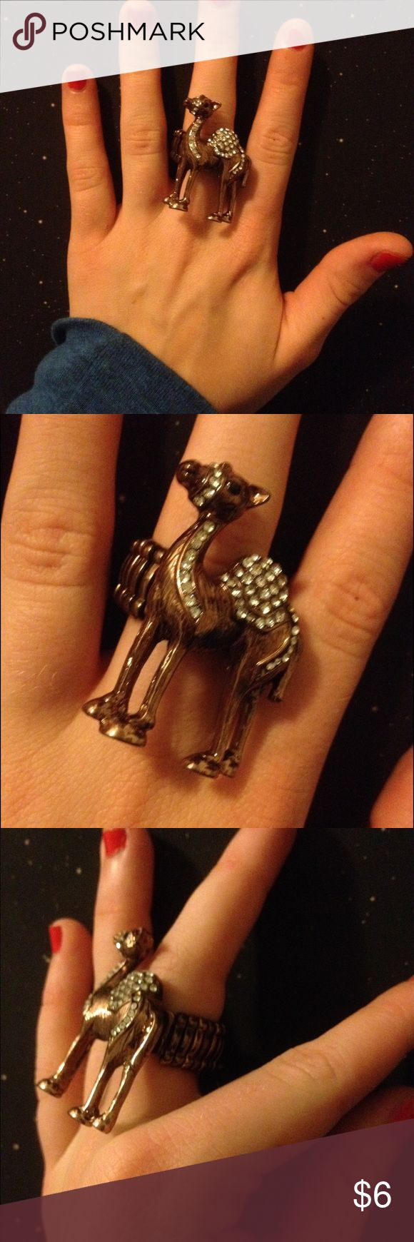 Cute camel ring! Brown and silver camel ring - perfect condition - never been worn! - one size - elastic ring band Rue 21 Jewelry Rings