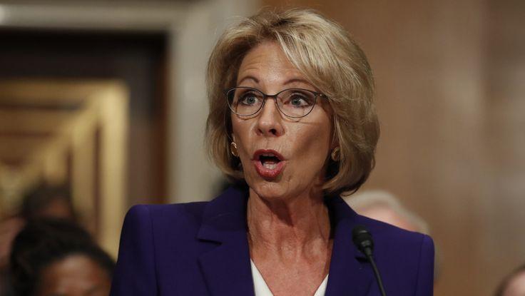 Sen. Elizabeth Warren will not be voting in favor of President Trump's nominee for secretary of education.