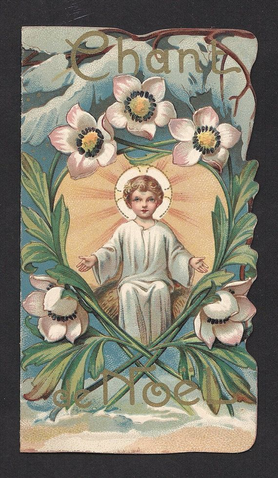 Gorgeous Vintage Holy Card Christmas Booklet Made In Paris Christ Child Pinterest Vintage Holy Cards Holi And Christmas Cards