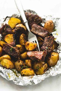Garlic Steak and Potato Foil Packs   lecremedelacrumb.com