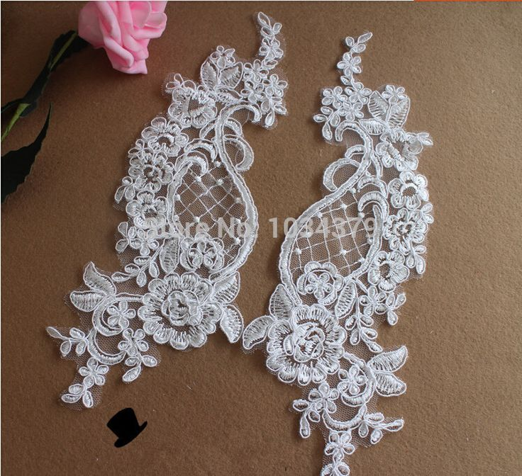 2 Pairs Free Shipping Off White Flower Floral Motif Venise Venice Lace Applique