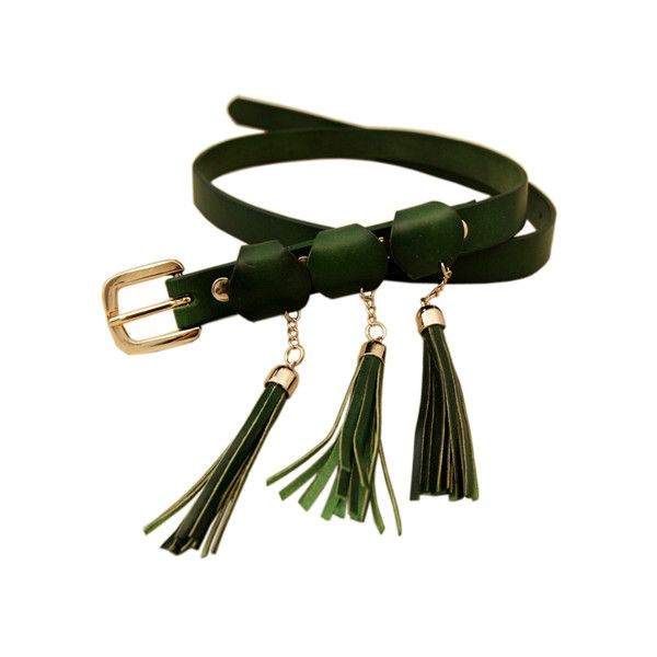 Three Tassel Pendants Dark Green Belt ($35) ❤ liked on Polyvore featuring accessories, belts, adjustable slimming belt, buckle belt, golden belt, tassel belt and adjustable belt