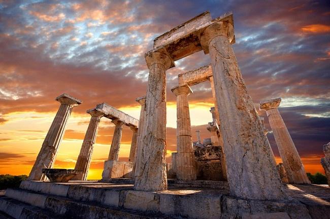 The Greek Doric Temple of Aphaia (500BC).  Aegina, Greek Saronic Islands