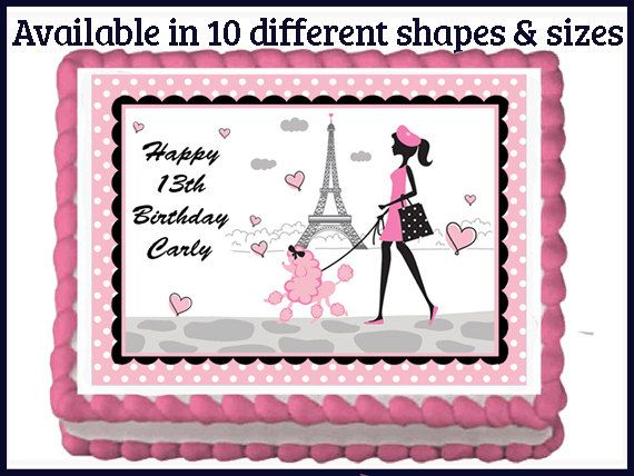 pink eiffel tower poodle edible birthday cake cupcake themed cake