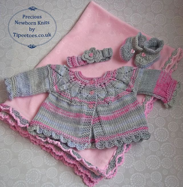 Knitted Baby Cardigan with Fleece Blanket, Crochet Booties & Headband 0-6 Months £38.00