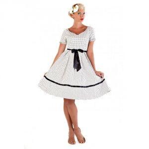 Lindy bop white black polka dot dress Martina