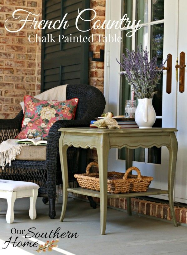 Create this beautiful aged green finish for a French Country end table.