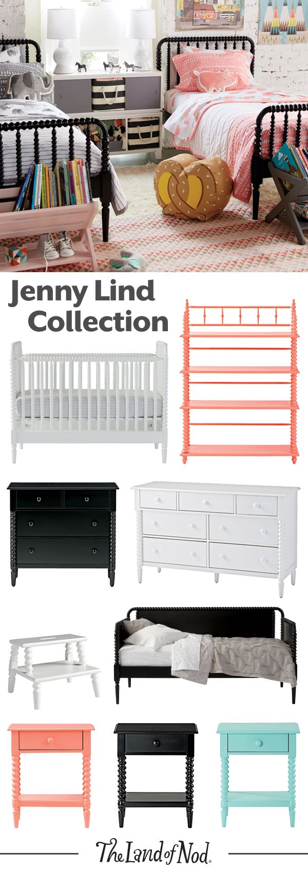 Featuring intricate wood turnings and a variety of stunning finishes, our Jenny Lind Collection is the perfect kids furniture for a boys room or girls room.