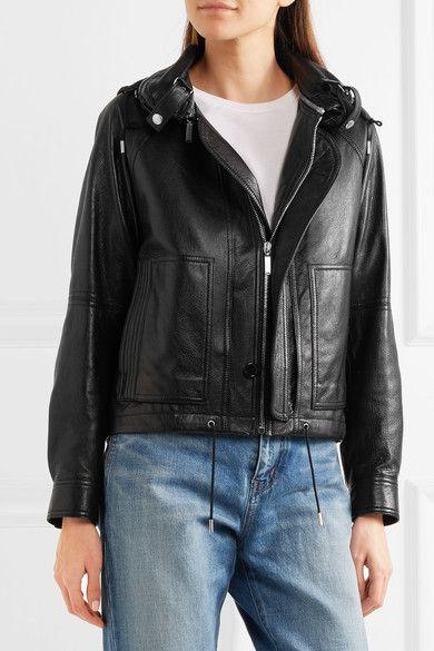 Saint Laurent - Hooded Leather Jacket - Black - FR38