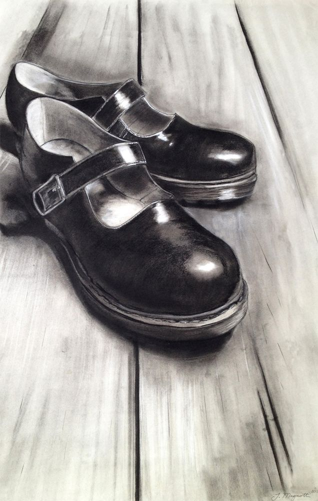 Jack Magnotti: Charcoal Drawing (type & condition of shoes & where placed can say  a lot about a person)
