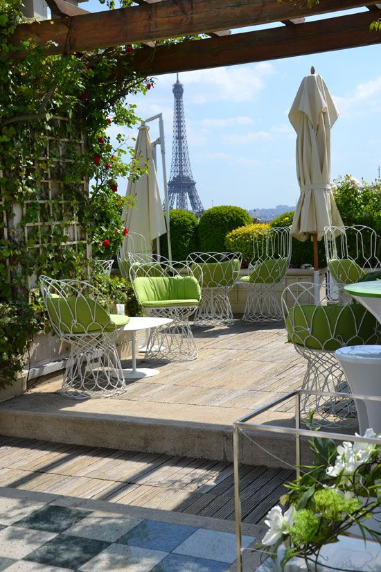 """The rooftop terrace at Hotel Raphael in Paris offers a brilliant view of the Eiffel Tower. A Parisian acquaintance of mine (from Vine!) reports that a drink at the hotel """"costs a kidney""""!"""