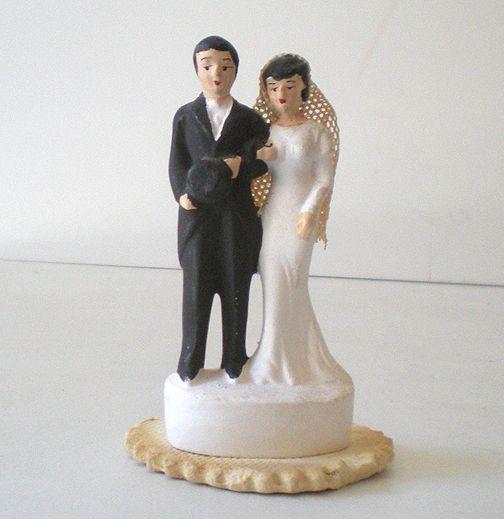 Vintage Chalk Wedding Cake Topper Bride and Groom