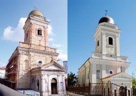 Biserica Banu din Iasi, inainte si dupa restaurare.