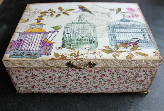 Wooden personalized keepsake box decoupage by DumontsHandicrafts
