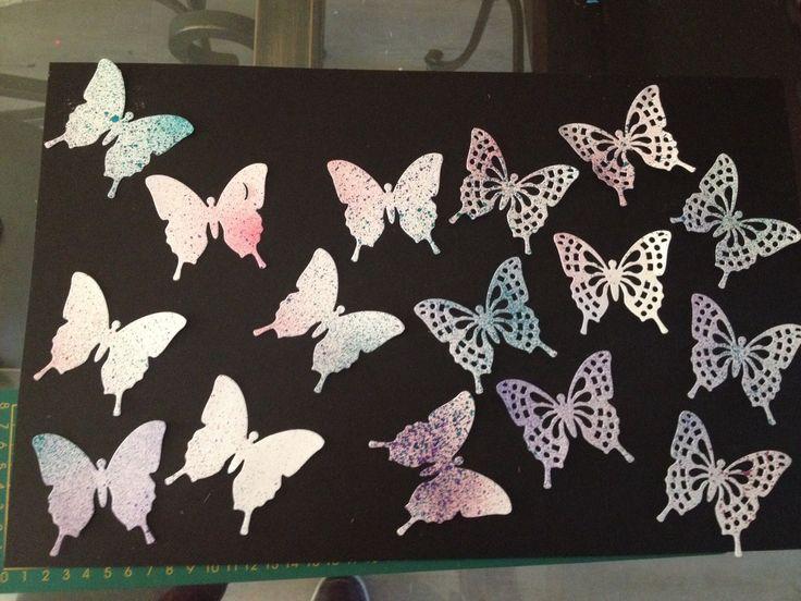 16 decoupes scrapbooking deco papillon 3d peint l encre - Materiel scrapbooking pas cher ...