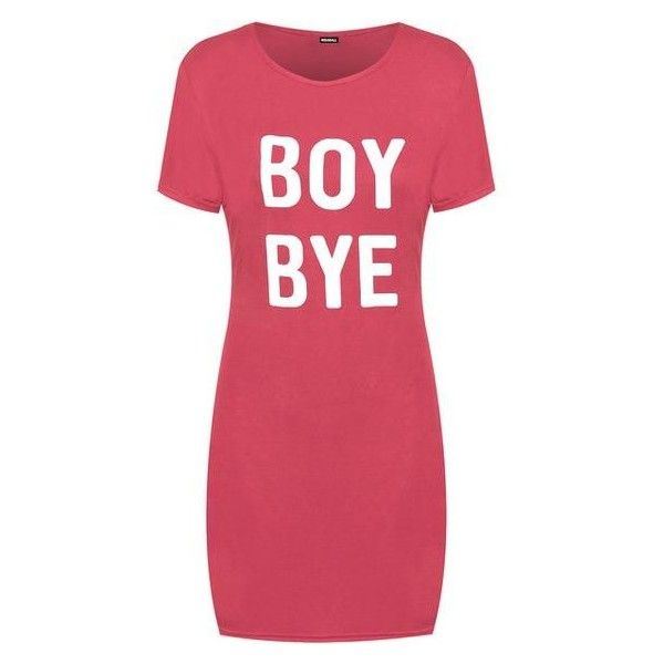 WearAll Boy Bye T-Shirt Dress ❤ liked on Polyvore featuring dresses, tee dress, tee shirt dress, red tee shirt dress, red tee dress and red dress