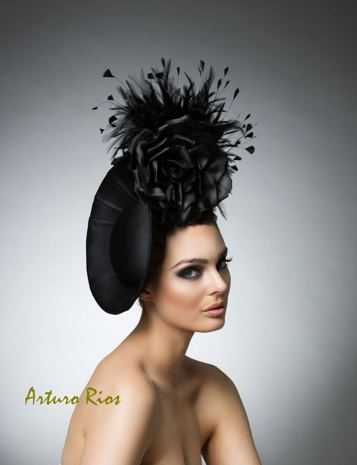 Black fascinator, Black headpiece, cocktail hat, derby hat, melbourne cup hats, Disk hat by ArturoRios on Etsy https://www.etsy.com/listing/206091403/black-fascinator-black-headpiece