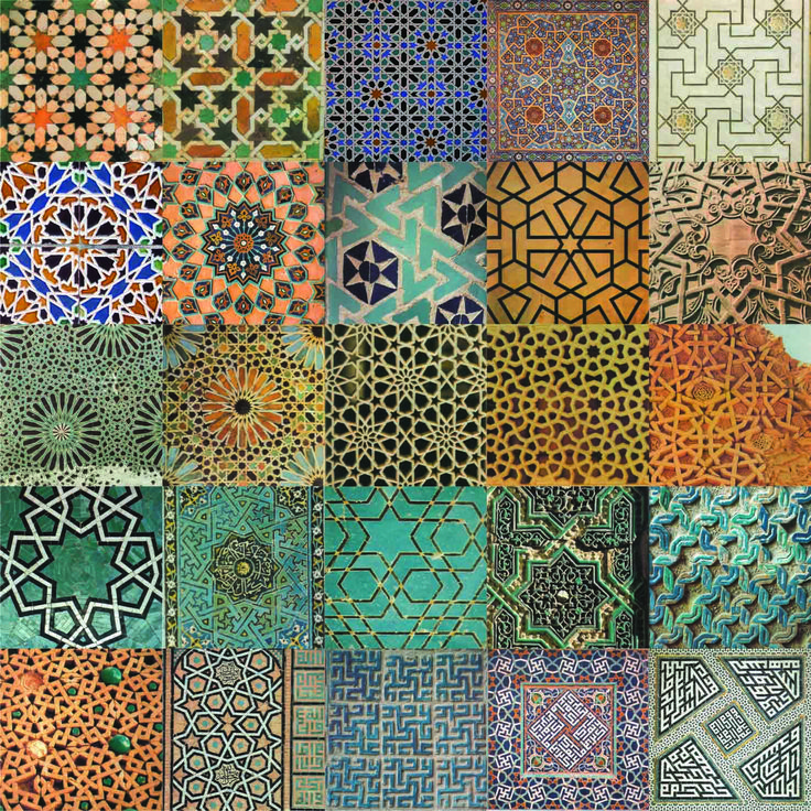 Examples of Islamic patterns based on geometric design.