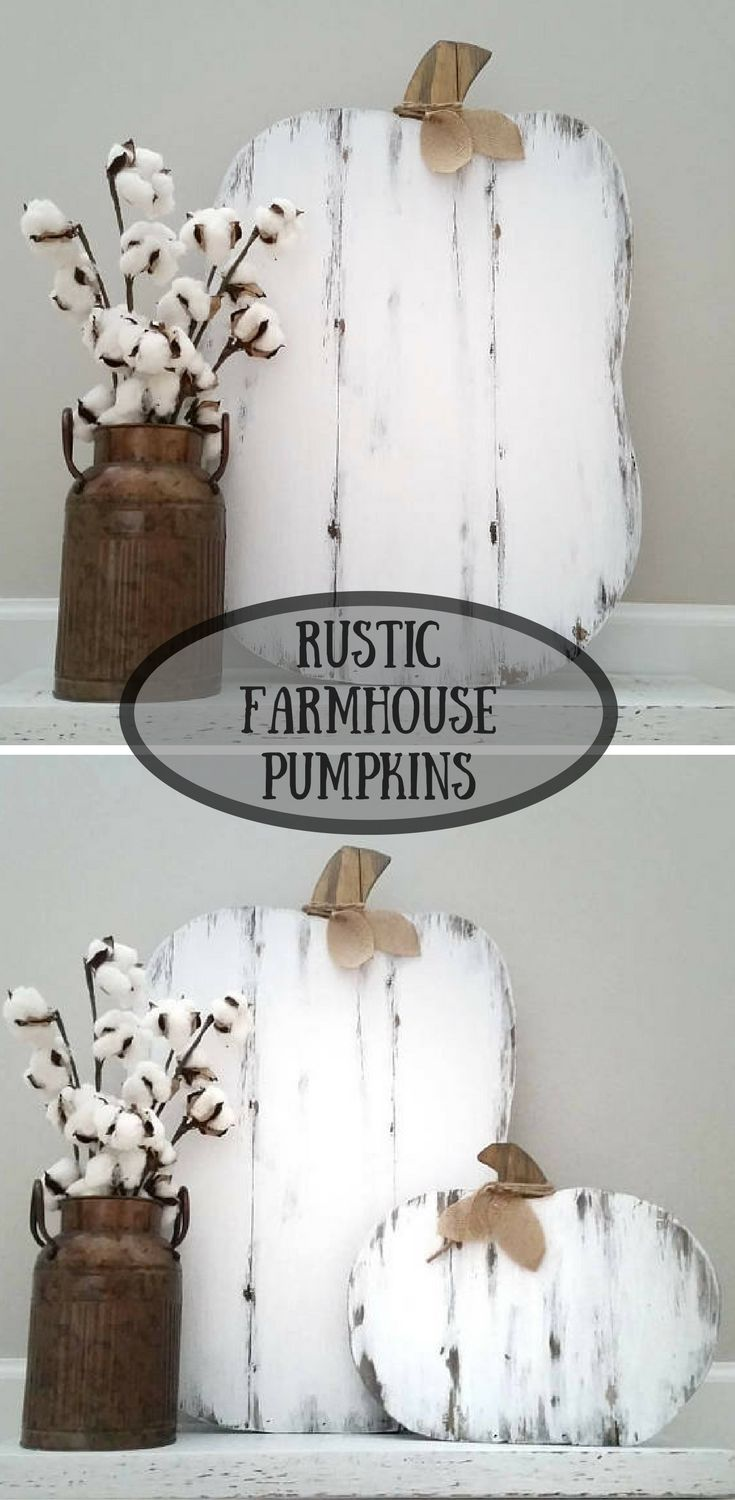 Rustic Farmhouse Pumpkins #farmhouse #rustic #ad #white #fall #autumn #harvest #thanksgiving #halloween #wood #home