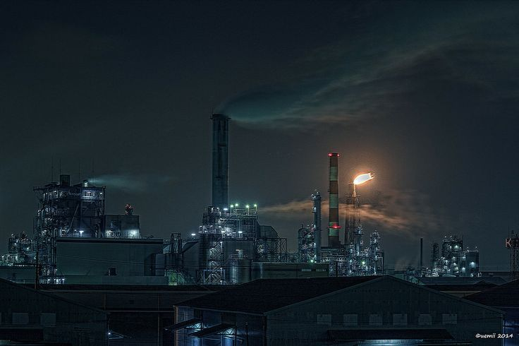 """HDR Photo: Factory night view """"Fire"""""""