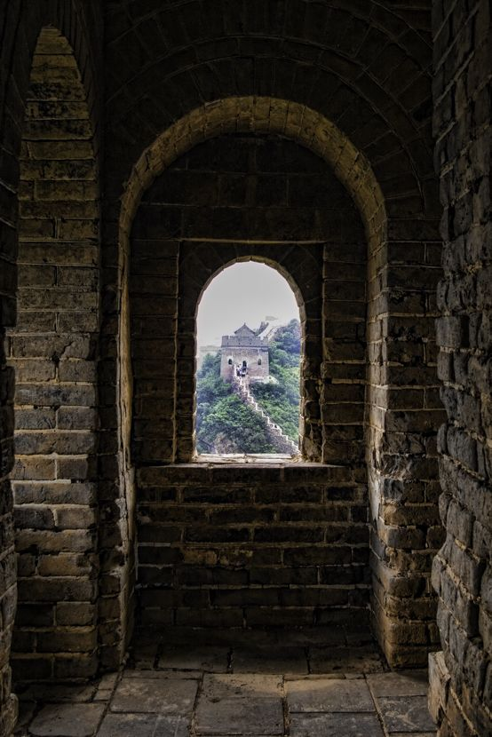 The view from inside a guard tower on the Great Wall.