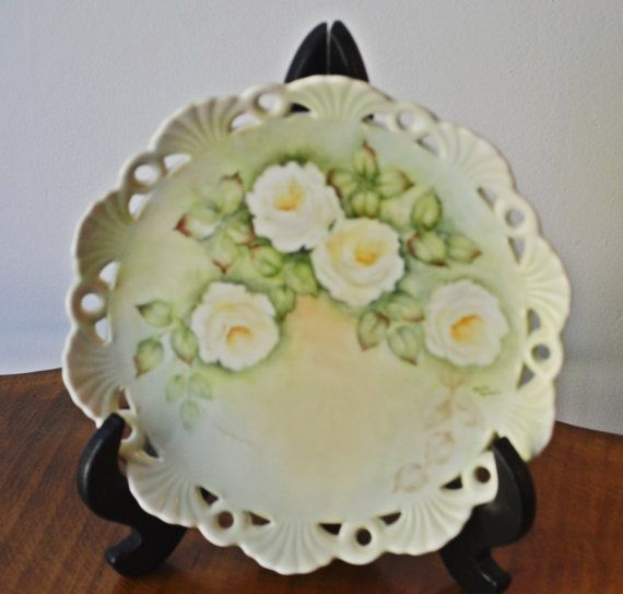 Vintage Hand Painted Plate Floral Dish Collectible Plate