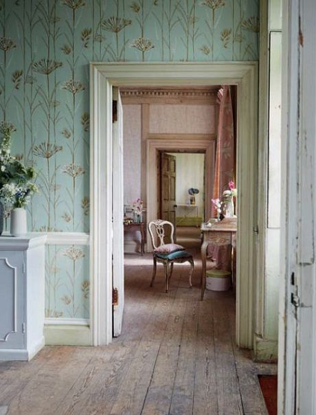 Pickering Hill:  Rural nonchalance. Vertical flower stems on pastel wallpaper