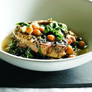 Lamb neck chops with chickpeas & silverbeet  by Celia Harvey | Cuisine issue #129 | Thursday, 7 July, 2011    Lamb neck chops with chickpeas & silverbeet    This is a great slow-cooked dish, all done in a crockpot, casserole or tagine. Choose thicker-cut chops and trim off the excess fat. Pre-soaked chickpeas are best to use in this recipe – and they make it a really hearty dish.    2kg thick-cut lamb neck chops  salt and freshly ground black pepper  olive oil for frying  1 cup chicken or…