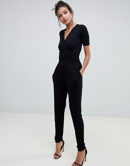 DESIGN Tall wrap front jersey jumpsuit with short sleeve 1