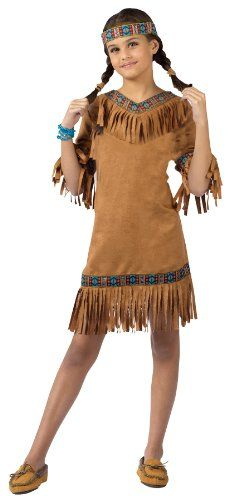 Fun World Girls Native American Indian Girl Halloween Costume 2014 - This costume Includes stripe ruffle top dress with turquoise satin poodle skirt, attached petticoat and neckerchief.