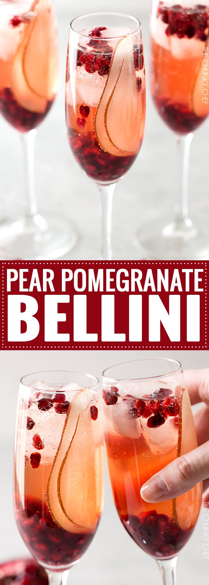 Pear Pomegranate Bellini   A delightful combination of Prosecco and pear brandy create this light, bubbly, and elegant Bellini! As pretty as it is delicious, it's just the drink you need for your next party or date night!   http://thechunkychef.com