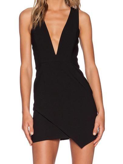little black dress, bodycon v neck dress, sexy black party holiday dress, dinner dress, date night dress - Crystalline