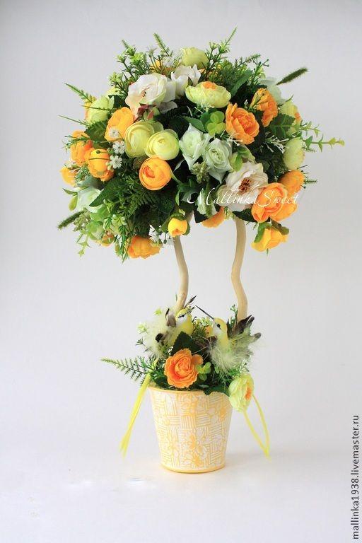 "Топиарий, дерево счастья ""Валенсия"" - жёлтый,топиарий,топиарий дерево счастья"