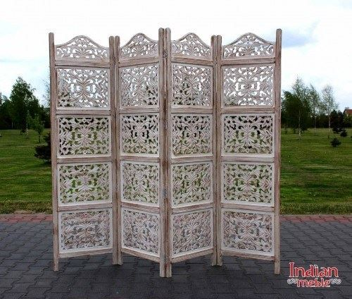 Dekoracyjny parawan 4-panelowy @ http://bit.ly/1YFB5yy  wykonany przez indyjskich stolarzy i wykończony woskiem.