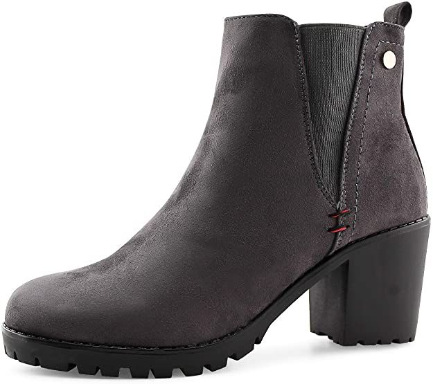 LifeStep Womens Fashion Ankle Boots Chunky High Heel Booties