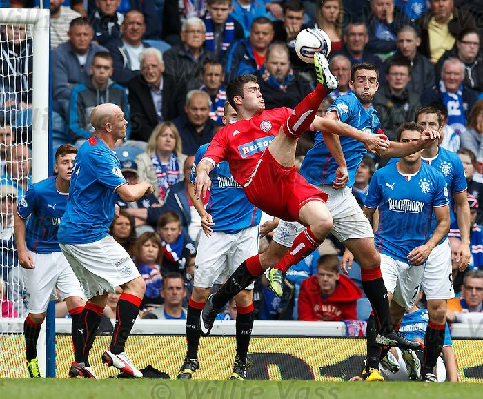 Brechin City's Steven Jackson scores with an overhead kick for the visitors as Lee Wallace challenges