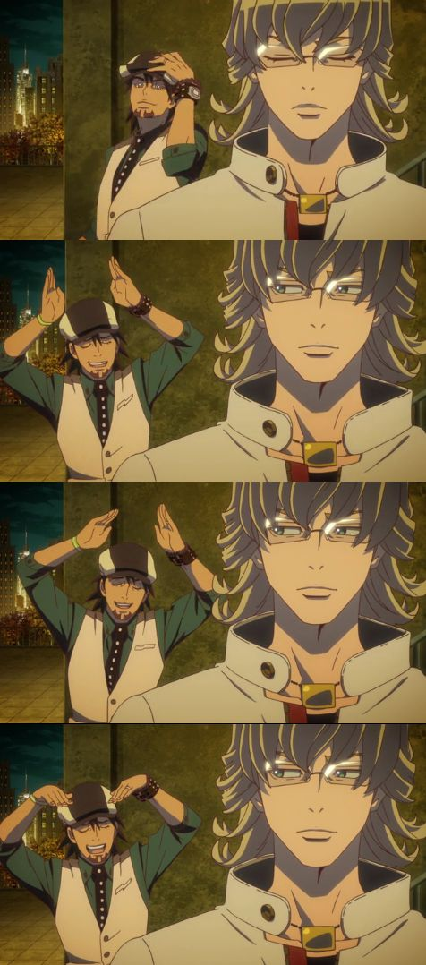 Tiger and Bunny in a nutshell, lol. In this scene, Tiger is making bunny ears to tease Barnaby about his nickname, 'Bunny'. They are just to cute.