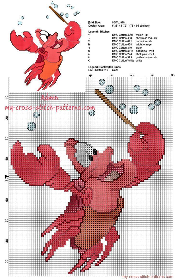 Sebastian Kreuzstichmuster von The Little Mermaid Disney Kinder Cartoons