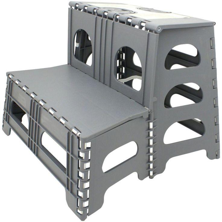 Double Step Stool Stair RV C&er Motorhome Portable Ladder Reach Easy Storage  sc 1 st  Pinterest & 14 best Step Ladders images on Pinterest | Step stools Projects ... islam-shia.org