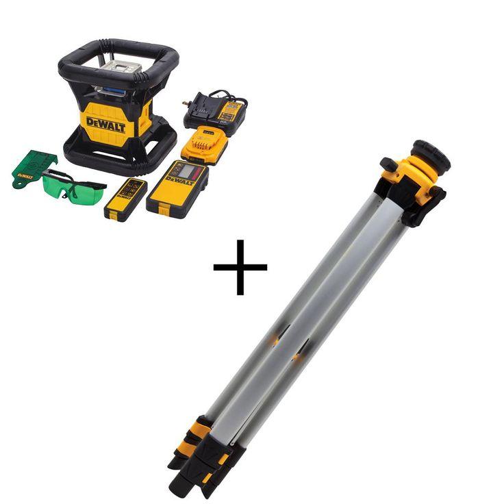 Dewalt 20volt lithiumion green rotary laser level with