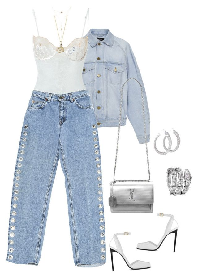 """""""Untitled #385"""" by klayvic ❤ liked on Polyvore featuring Fear of God, La Perla, Levi's, Yves Saint Laurent, Jennifer Meyer Jewelry, Charlotte Russe and Bulgari"""