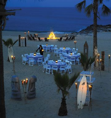 Rehearsal dinner on the beach, love this - at the Ocean Place Resort & Spa