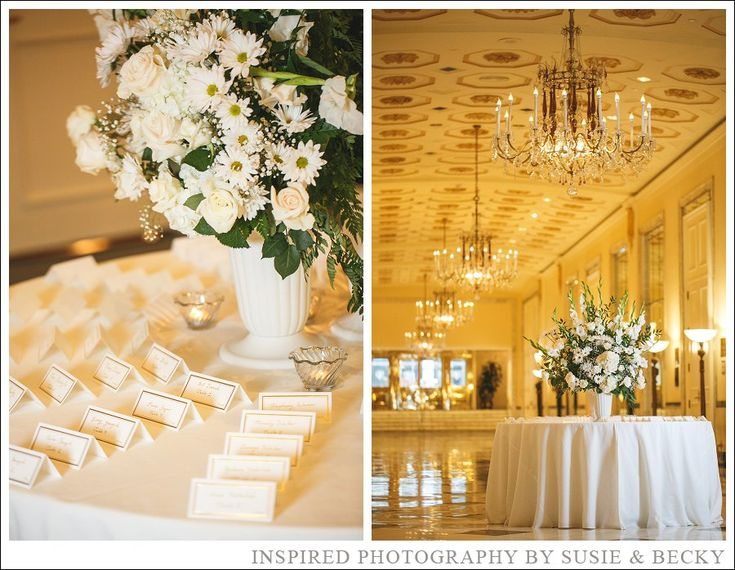 gorgeous white floral arrangements at a black tie wedding held at the mayflower hotel dc - Yellow Hotel 2015