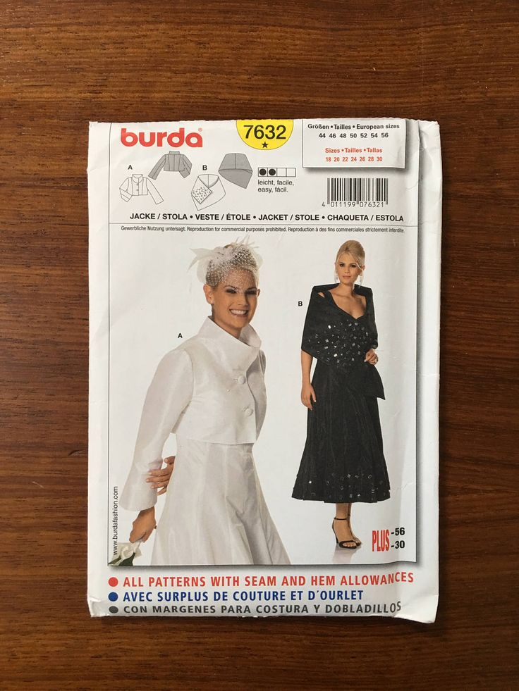 Burda 7632 Misses Formal Jacket/Stole Size 18-30 by weseatree on Etsy