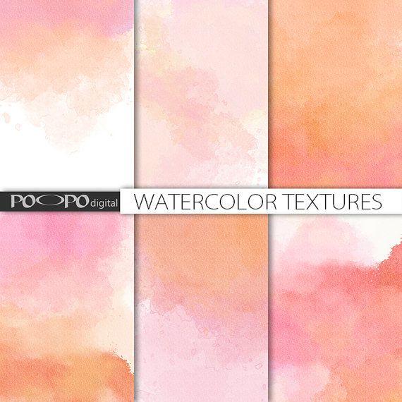 Ombre digital Aquarellpapier Aquarell Scrapbook handgemalt rot rosa orange Pfirsich Pastell Hochzeit Einladung Textur Hintergrund basteln