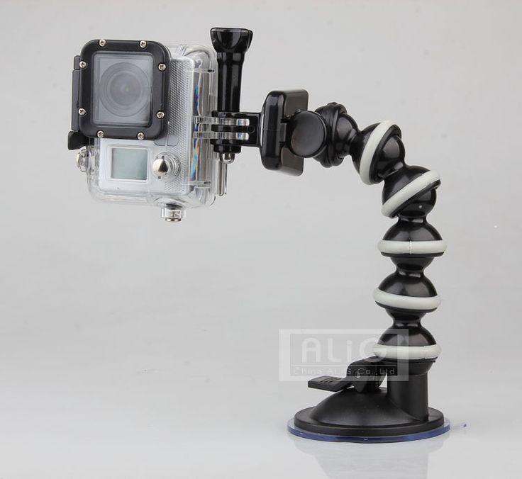Esnek gooseneck araç sucker montaj tutucu gopro hero 4 3 hd suptig sj4000 sj5000 sj6000 mini kamera kamera aksesuarları