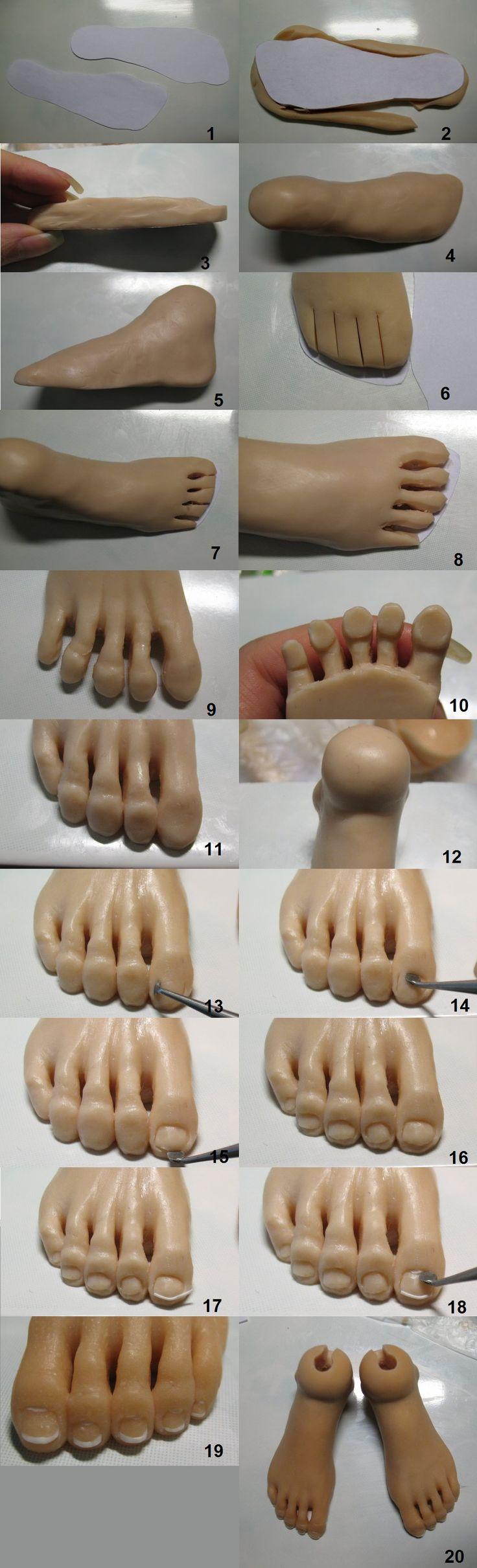 clay foot tutorial from a thread at bjdclub.ru I combined the images to make one tutorial.