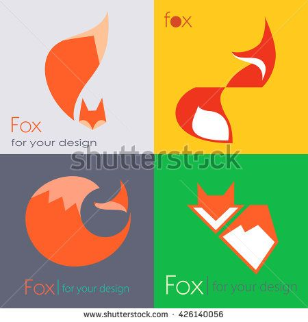Set red Fox logo sign, illustration and symbol. collection of vector icons - stock vector
