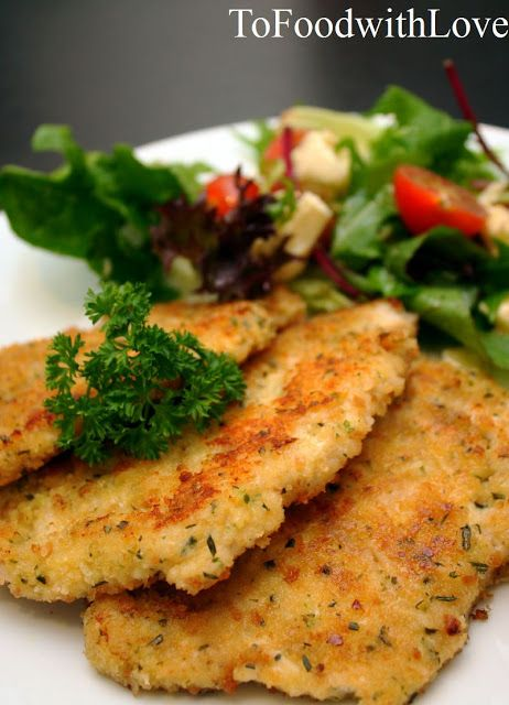 To Food with Love: Parmesan & Herb Crusted Chicken Schnitzel with Crunchy Buttery Garlic Sourdough and Tomato Bocconcini Salad